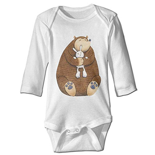 Monicago Neugeborenes Baby Jungen Mädchen Babybody Langarm, Baby Boys Girls Bodysuit Cute Bear Hug Bunny Jumpsuit Onesies Long Sleeve Unisex