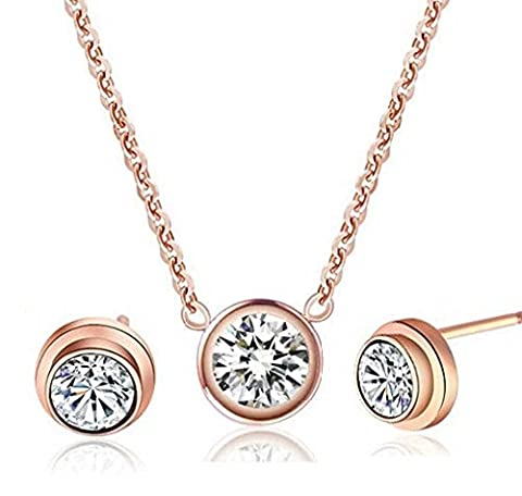 findout 14K rose gold plated titanium steel single diamond pendant necklace + earring set ,for