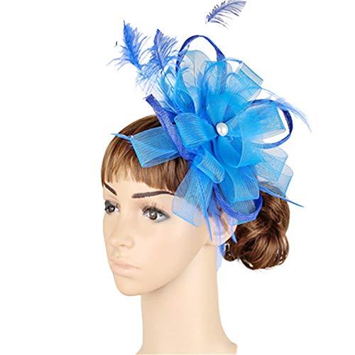 Eleganter Fascinator Hut der Frauen Brautfeder-Haar-Klipp-Zusatz-Cocktail-königliches Ascot Kentucky Derby-Teeparty-Kopfbedeckung (Farbe : Lila) (Halloween Haare Ideen Lila)