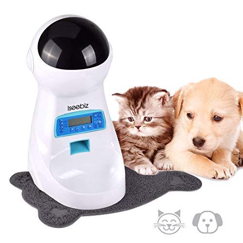 Iseebiz 3L Futterautomat, Automatisierte Futterspender mit Mat für Haustiere Hunde Katzen mit Timer, Idee für Katzen und Hunde