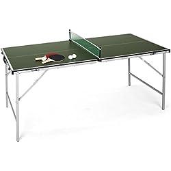 Klarfit King Pong mesa de ping-pong plegable (recubrimiento resistente a golpes, fácil montaje y transporte, incluye dos palas y tres pelotas, red, tenis de mesa) - verde