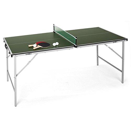 Klarfit King Pong Mini Tischtennisplatte (für Kinder, 75 x 153 cm Spielfläche, schlaggeschützte Beschichtung, klappbar, platzsparend, inkl. 2 x Schläger und 3 x Bälle) grün