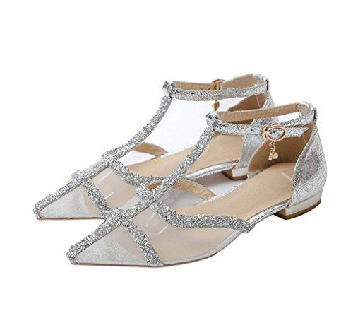 Guoar - Scarpe con cinturino alla caviglia Donna Argento (argento)