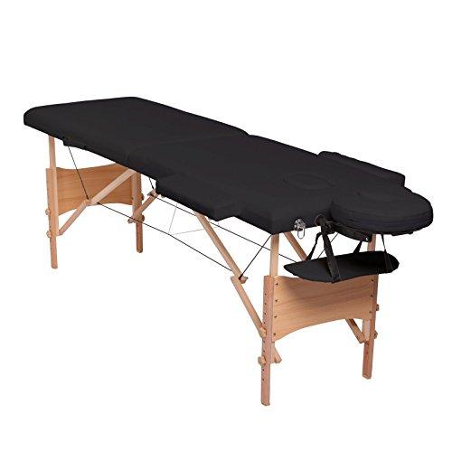 dibea MT00562, Mobile 2-Zonen Massagebank, Holzgestell (klappbar), höhenverstellbar, schwarz Zwei Mobile