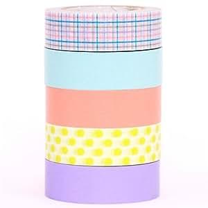 Set 5 nastri decorativi Washi mt pastello in scatola