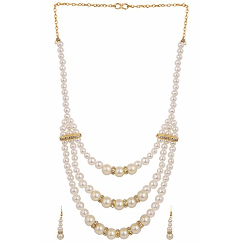 Parinaaz Gold Plated Jewellery Fancy Party Wear Pearl Multi Strand Necklace Set with Drop Earrings for Girls and Women  available at amazon for Rs.240