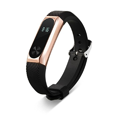 Xiaomi Mi Band 2 Armband, OverDose Ersatz Armband Band Bügel + Metallkasten für Xiaomi Mi Band 2-Armband (Roségold) (Tory Gelee Burch)