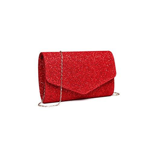 935d8abd2a8f0 Miss Lulu Glitzer Clutch Bag Elegante Kettentasche Damen Tasche Handtasche  Hochzeit Abendtasche Umhängetasche glitzernd (LH1801 ...