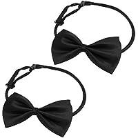 Corbata de mono de perro - TOOGOO(R) 2 pzs Negro ajustable Corbata de mono Corbata de lazo de decoracion para perrito de mascota perro