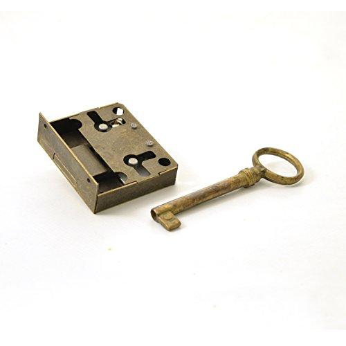 Kastenschloss (Dornmaß 25 mm) und Schlüssel aus Messing