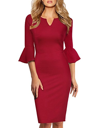 YesFashion Damen Elegant Abendkleid Langarm Knielang Etuikleid Partykleid Business Kleider