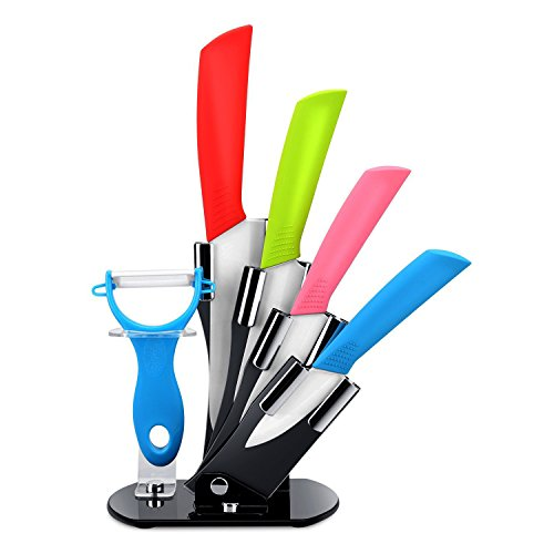 StillCool Set di coltelli in ceramica Coltelli Professionale da cucina con lama in ceramica Set di coltelli da cucina a e sbucciatore di verdure con supporto regolabile (6 pezzi)