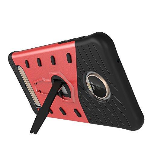 Hüllen für Mobiltelefone Motorola Moto Z2 Play, TOCASO Slim Armor CS Schutzhülle schwarz [Tough Armor] Extrem Fallschutz Doppelte Schutzschicht Stoßabweisende Handyhülle Silikon TPU Innenteil + Polyka Armor Rot