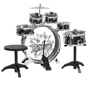 kids-drum-set-kids-toy-with-cymbals-stands-throne-black-silver-boys-toy-drum-kit-by-unknown