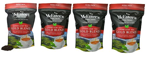 McEntee's Irish Loose Leaf Gold Blend Tea - (Pack of 4) - 250g Refill Bag - Expertly blended in Ireland to give that perfect cup of tea. Delivering that taste of home. -
