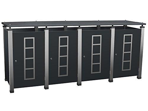 Mülltonnenbox Metall, Modell Pacco E Quad20 für vier 120 ltr. Tonnen