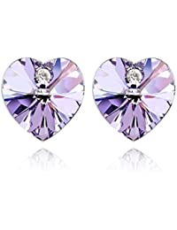 NEVI Heart Crystals From Swarovski Rhodium Plated Stud Earrings Jewellery for Women And Girls (Purple)