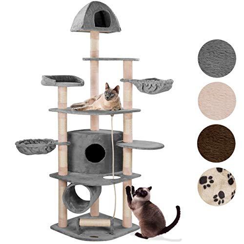 happypet® Kratzbaum für Katzen groß 200 cm hoch, CAT031-4, Kletterbaum Katzenbaum, stabile Säulen mit Sisal ca. 8 cm, Liegemulden, Haus, Tunnel, Kratzrolle, Spielseil, Aussichtsplattform, GRAU