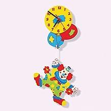 Dida - Orologio da parete in legno - Arredare la camera dei bambini con un orologio Clown con palloncini