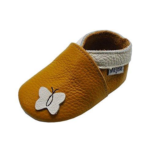 Mejale Weiche Sohle Leder Babyschuhe Lauflernschuhe Krabbelschuhe Kleinkind Kinderschuhe Hausschuhe Karikatur Schmetterling(24-36 Monate, Braun) (Kleinkind Sohle Leder Schuhe)