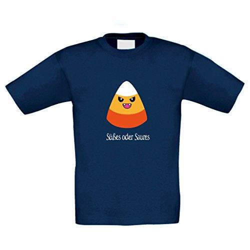 T-Shirt Kinder Halloween Candycorn Allhalloween Party Kostüm, 110-116, dunkelblau
