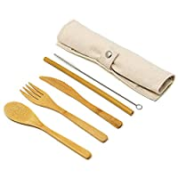 Reusable Bamboo Cutlery Set   Eco Friendly, Biodegradable Travel & Camping Wooden Utensil Kit   Plastic Replacements   M&W