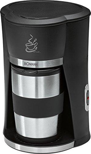 Bomann KA 180 Cafetera de goteo, capacidad 1 taza con termo, color negro y plata