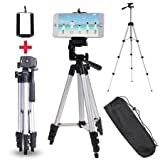 #5: Portable Foldable Camera Tripod with Mobile Clip Holder Bracket, Fully Flexible Mount Cum Tripod, Standwith 3D Head & Quick Release Plate Silver