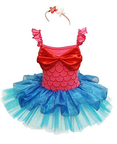 Tiaobug Mädchen Kostüm Meerjungfrau Karneval Verkleidung Party Faschungskostüm Kleid+Haarreif Tutu Rock Pink+Blau 98-104/3-4 ()