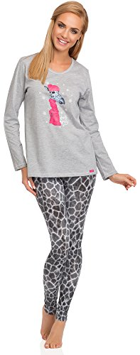 Cornette Damen Schlafanzug 669 2015 Melange/Grau(Giraffe)