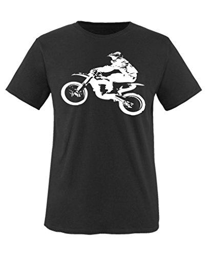 Comedy Shirts - Motorcross Motorrad - Jungen T-Shirt - Schwarz / Weiss Gr. 152-164