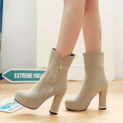 Mee Shoes Damen inner Plateau faux Suede high heels Stiefel Beige