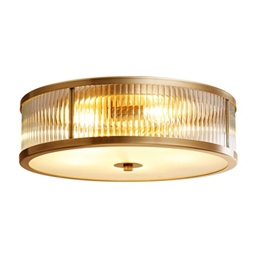 Runde Deckenleuchte Minimalistische Messing Deckenlampe Glas Schatten Ø45cm H15cm 4×E27 Edle Decken leuchte für Wohnzimmer Schlafzimmer Esszimmer Korridor Balkone usw.Kompatibel mit LED/CFL MAX.60W