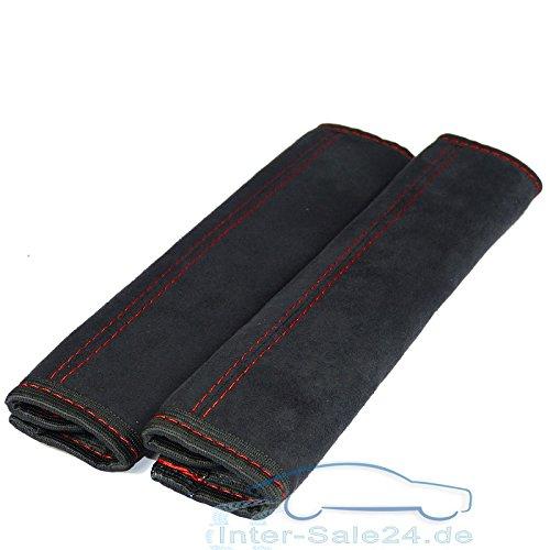 L & P A0131Protector de cinturón/Cinturón acolchado de Alcantara en negro con costuras rojas universal hasta max. 5cm correa ancho