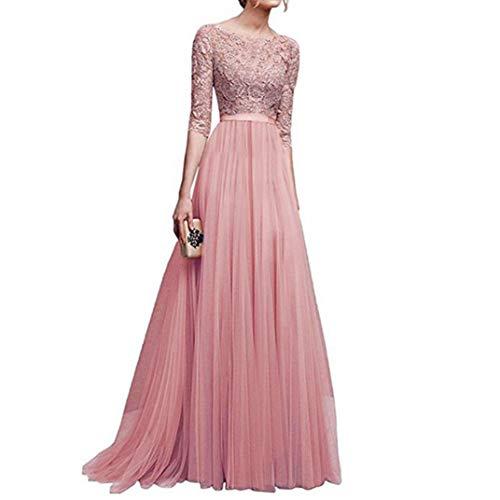 Cooljun Damen Elegant 3 4 Ärmel Kurzarm Brautjungfern Kleid Floral Spitzen  Abendkleid Dress Maxikleid Lang Tüllkleid Ballkleid Cocktail Hochzeit  (XX-Large, ... 6832c6fdad