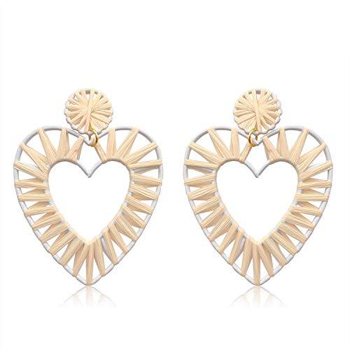 Gewebte Rattan Ohrringe für Frauen Stroh Wicker baumeln Creolen Set leichte Boho geometrische Tropfen Ohrring handgefertigt (Weiß) -