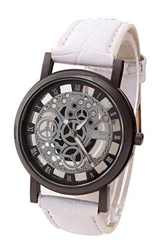 Armbanduhr - SODIAL(R)Damen Herren Skelett Uhr Kunstleder Armband Analog Quarz Armbanduhr Sport Weiss band & Schwarz Zifferblatt