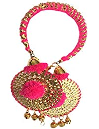 Loops N Knots Pink Bangle With Pink Charm Hangings/Lumba Rakhi/Wrist Band/Armlet/Bracelet For Girls/Bhabhi