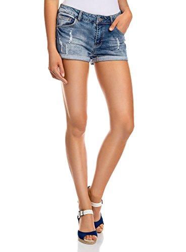 oodji Ultra Damen Jeansshorts in Aged-Waschung, Blau, DE 42 / EU 44 / XL (Jeans-shorts Damen Kurze)
