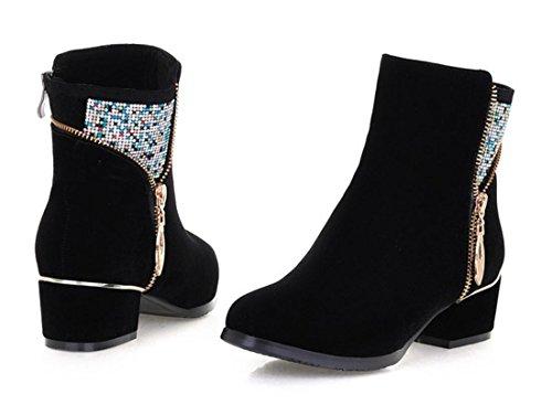YCMDM bottes à talons hauts femmes nouvelles chaussures simples de haute qualité matte bottes mode tempérament printemps automne hiver noir 34 35 36 37 38 39 40 Black