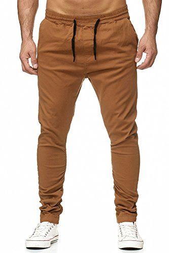 Reslad Chino-Hose Herren Jogging-Jeans Jogger Chino Freizeithose Jogginghose RS-2082 Camel L -