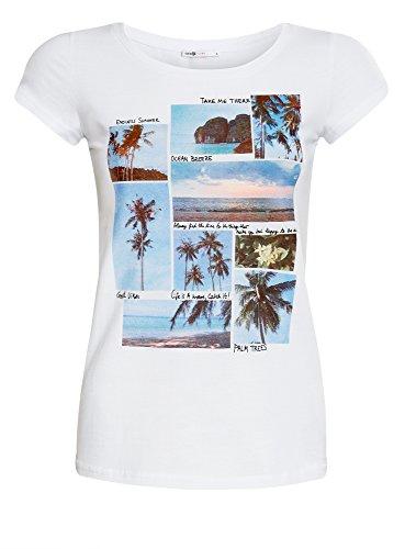 oodji Ultra Donna T-Shirt in Cotone con Stampa Estiva Bianco (1019P)