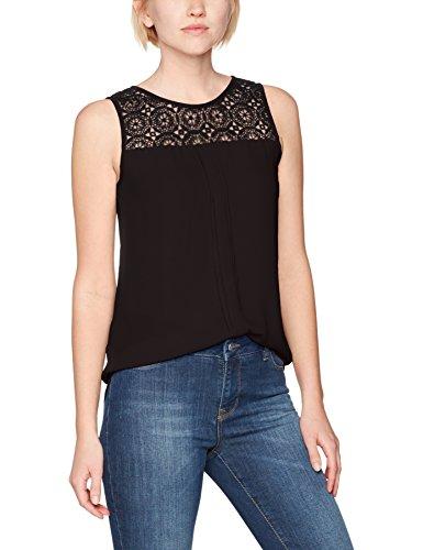 ONLY Damen Onlvenice S/L Lace Top Noos Wvn, Schwarz (Black Black), 38 (Schwarze Bluse Ärmellose)