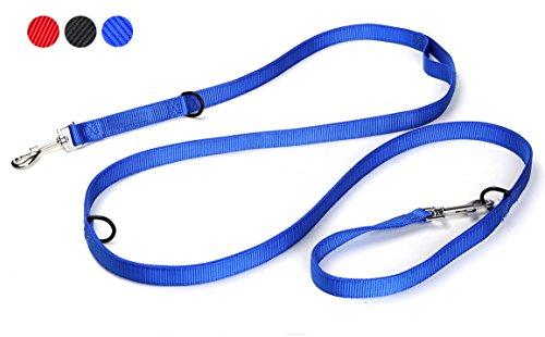 Clow Castle® Hundeleine multifunktionales Doppel-Nylon-Seil, massiv und verstellbar in 4 Längen (1,4 m - 2 m) in Schwarz, Rot und Blau, geflochten, mit 2 Jahren Zufriedenheitsgarantie