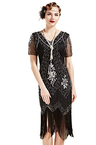 ArtiDeco 1920s Kleid Damen Flapper Kleid mit Kurzem Ärmel Gatsby Motto Party Damen Kostüm Kleid (Schwarz Silber, XS (Fits 70-74 cm - Schwarz Und Silber Pailletten Flapper Kostüm