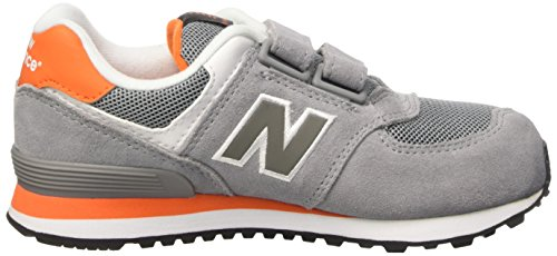 New Balance 483650-41, Baskets Basses Mixte Enfant Gris (Grey/Orange/058)