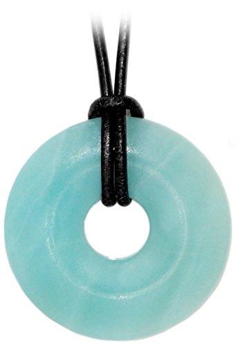 Schmuck by kaltner präsente regali kaltner ltext-collana con ciondolo a forma di ciambella con pietre amazzonite sul cinturino in pelle (diametro 30 mm) collana