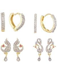 SKN Silver And Golden American Diamond Peacock Stud & Ear Bali Earrings Combo For Women & Girls (SKN-C1128)