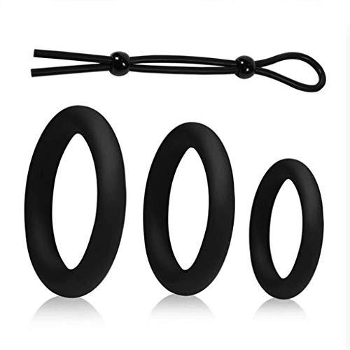Anello regolabile in silicone elasticizzato regolabile elasticizzato + Anello Super Soft da uomo e anello tondo Ritardante-Match perfetto, la scelta migliore