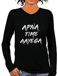 87da4f1b60 Pooplu Womens Apna Time Aayega Vector Cotton Printed V Neck Full Sleeves  Multicolour T Shirt.